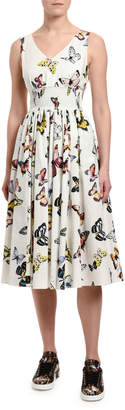 Dolce & Gabbana Butterfly-Print Poplin Dress