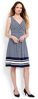 Lands' End Women's Petite Fit and Flare Dress-Radiant Navy Geo Border