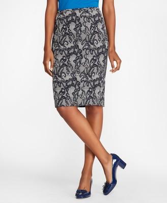 Brooks Brothers Floral Glen Plaid Jacquard Pencil Skirt