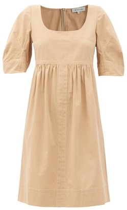 Lee Mathews May Square-neck Topstitched Cotton Dress - Beige