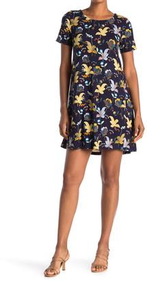 Philosophy di Lorenzo Serafini Ryan Short Sleeve Jersey Floral Print Dress