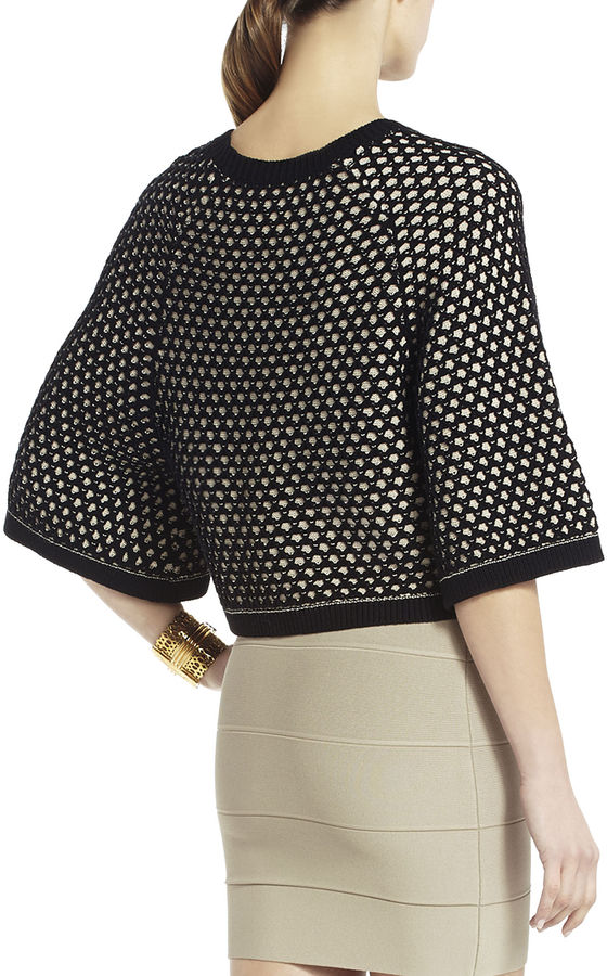 BCBGMAXAZRIA Graham Pointelle Cropped Top