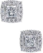 Macy's Diamond Halo Stud Earrings (2 ct. t.w.) in 14k White Gold