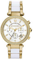 Michael Kors Gold Tone and White Acetate Parker Watch