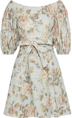 Zimmermann Fleeting Flip Belted Floral-print Linen Mini Dress