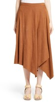 Stella McCartney Women's Faux Suede Asymmetrical Midi Skirt
