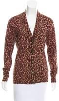 Tory Burch Leopard Printed Wool Cardigan