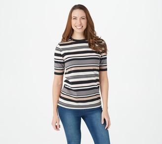 Isaac Mizrahi Live! Crew Neck Elbow-Sleeve Stripe Printed Knit Top