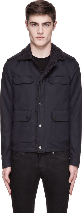 Lanvin Navy Military-Style Shearling & Leather Jacket