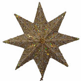 Kurt Adler 16 Gold Glitter with Gold Trim and Beads Star Treetop
