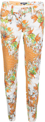 Just Cavalli Multicolor Floral And Python Print Straight Fit Jeans M