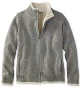 L.L. Bean L.L.Bean Classic Ragg Wool Sweater, Sherpa-Lined Zip Cardigan
