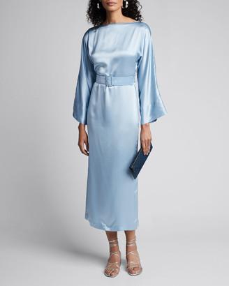 BERNADETTE Satin Boat-Neck Bell-Sleeve Belted Dress