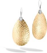 John Hardy Classic Chain LG Drop Earring, Silver, Hammered 18K, Diamond