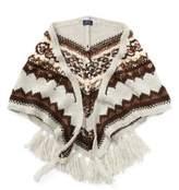 Ralph Lauren Beaded Triangle Wool Scarf Tan Multi One Size
