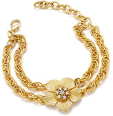 Charter Club Gold-Tone Flower Crystal Double Chain Link Bracelet, Only at Macy's