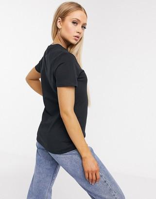 Nike leopard print swoosh T-shirt in black