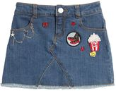 Little Marc Jacobs Stretch Denim Skirt W/ Patches