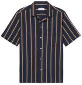 President's - Camp-Collar Striped Cotton and Linen-Blend Shirt