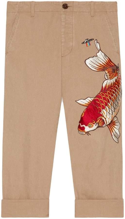 Gucci Cotton pant with fish appliqué