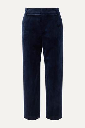 Vince Cropped Velvet Straight-leg Pants - Navy