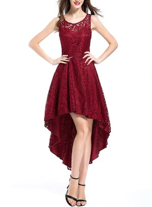 OTEN Women's Cocktail Wedding Bridesmaid High Low Prom Dress Wine Red Large