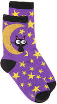 High Point Design Black Cat Moon Toddler & Youth Crew Socks - Girl's