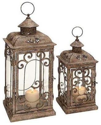 Uma Enterprises New Traditional Metal and Glass Lanterns, 2-Piece Set, Multi-Color