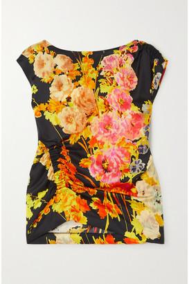 Dries Van Noten Ruched Floral-print Satin Blouse - Black