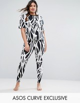 Asos LOUNGE Oversized Tunic T-Shirt & Legging In Graphic Mono Print