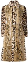 Givenchy print mix panelled trench coat - women - Goat Skin/Lamb Skin/Python Skin/Viscose - 36