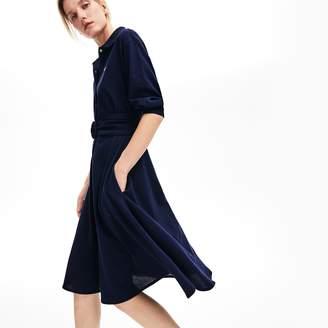 Lacoste Women's Belted Cotton Petit Pique Polo Dress