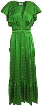 Temperley London Gaia Tie-back Ruffle-trimmed Satin-jacquard Midi Dress