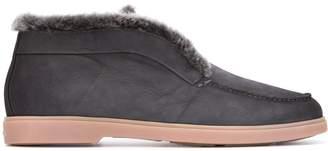 Santoni shearling-trimmed loafers