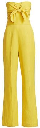 Derek Lam 10 Crosby Alene Tie-Front Strapless Jumpsuit