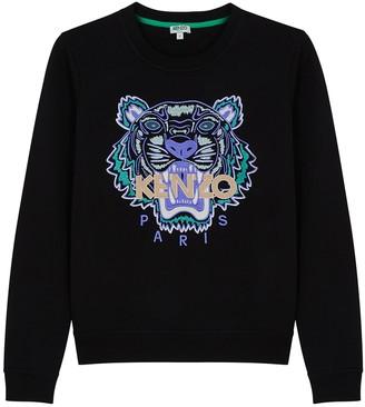 Kenzo Black Tiger-embroidered Cotton Sweatshirt