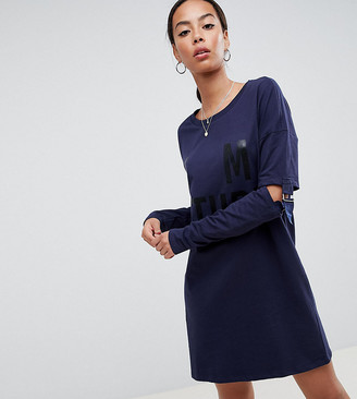 Noisy May Tall long sweater dress with buckle sleeves-Blue
