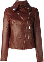 Christopher Kane embroidered cropped jacket - women - Lamb Skin/Viscose - 40