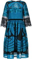 Alberta Ferretti sheer detail flared dress - women - Silk/Cotton/Nylon/Polyester - 42