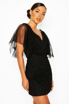 boohoo Heavy Lace Mesh Detail Mini Dress