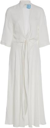 Off-White Slit-Front Crepe Midi Dress