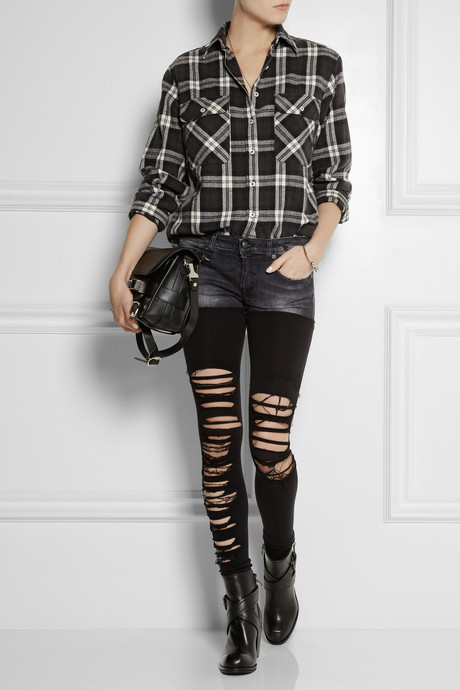 R 13 Chaps shredded low-rise skinny jeans