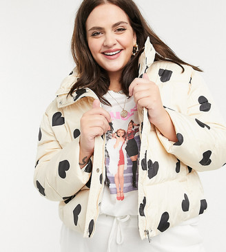 Wednesday's Girl Curve padded jacket in heart print
