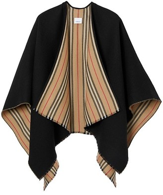 Burberry Icon Stripe To Solid Wool Cape