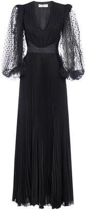 Givenchy V-Neck Pleated Maxi Dress