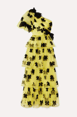 Rodarte One-shoulder Bow-detailed Tiered Printed Tulle Gown - Yellow
