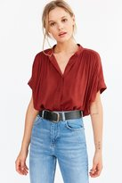 Ecote Annie Gauzy Button-Front Tunic Blouse