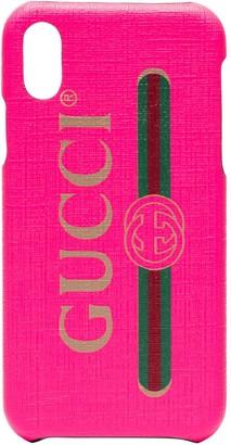 Gucci fluorescent pink PVC iPhone X/XS case