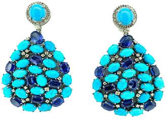 Arthur Marder Fine Jewelry 14K & Silver 0.65 Ct. Tw. Diamond, Turquoise & Kyanite Earrings