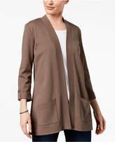 Karen Scott Petite Cotton 3/4-Sleeve Cardigan, Created for Macy's